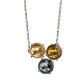 Колье с тремя камнями (празиолит, турмалин, топаз, кошачий глаз, хрусталь), серебро