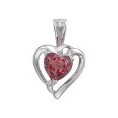 Подвеска Сердце с родолитом и фианитом, серебро