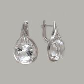 Серьги с горным хрусталем, серебро