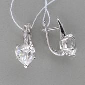 Серьги Сердце с горным хрусталем и фианитом, серебро