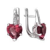Серьги Сердце с родолитом и фианитами, серебро