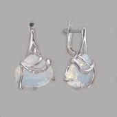 Серьги с лунным опалом и фианитом, серебро