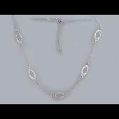Колье Овалы с алмазными гранями из серебра
