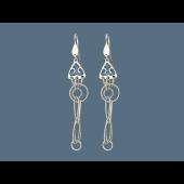 Серьги длинные с эмалью и кольцами с алмазными гранями, серебро
