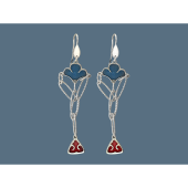 Серьги длинные с узором и эмалью, серебро