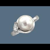 Кольцо с жемчугом и фианитом, серебро