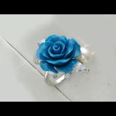 Кольцо Роза с кораллом (черным, зеленым, голубым), жемчугом и фианитами, серебро