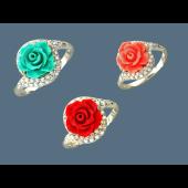Кольцо Роза с кораллом (черным, белым, розовым) и фианитами, серебро