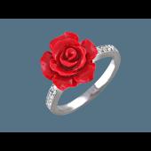 Кольцо Роза с кораллом (зеленый, красный) и фианитами, серебро
