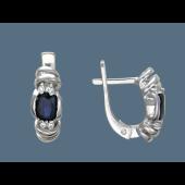 Серьги с корундом и фианитами, серебро