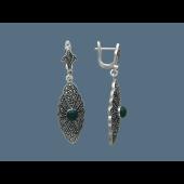 Серьги длинные с бирюзой (с сердоликом) и марказитами, серебро