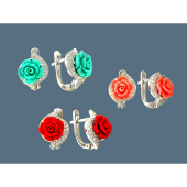 Серьги Роза с черным, белым, красным кораллом и цирконами, серебро