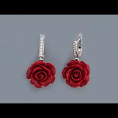 Серьги Роза с кораллом и фианитом, серебро