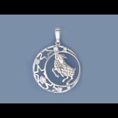 Кулон знак зодиака Овен в круге со звездами и фианитами, серебро