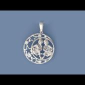 Кулон знак зодиака Близнецы в круге со звездами и фианитами, серебро