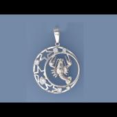 Кулон знак зодиака Рак в круге со звездами и фианитами, серебро
