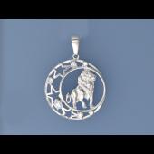 Кулон знак зодиака Лев в круге со звездами и фианитами, серебро