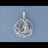 Кулон знак зодиака Дева в круге со звездами и фианитами, серебро
