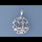 Кулон знак зодиака Весы в круге со звездами и фианитами, серебро