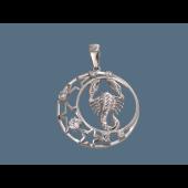 Кулон знак зодиака Скорпион в круге со звездами и фианитами, серебро
