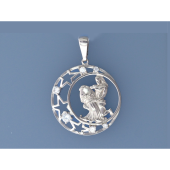 Кулон знак зодиака Водолей в круге с полумесяцем, звездами и фианитами, серебро