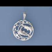 Кулон знак зодиака Рыбы в круге с полумесяцем, звездами и фианитами, серебро