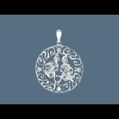 Кулон Близнецы в круге с фианитами из серебра
