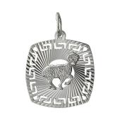 Кулон знак зодиака Овен в квадрате с алмазными гранями, серебро