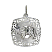 Кулон знак зодиака Телец в квадрате с алмазными гранями, серебро