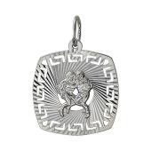 Кулон знак зодиака Близнецы в квадрате с алмазными гранями, серебро