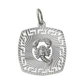 Кулон знак зодиака Рак в квадрате с алмазными гранями, серебро