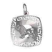 Кулон знак зодиака Лев в квадрате с алмазными гранями, серебро