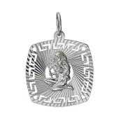 Кулон знак зодиака Дева в квадрате с алмазными гранями, серебро