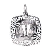Кулон знак зодиака Весы в квадрате с греческим рисунком и алмазными гранями, серебро