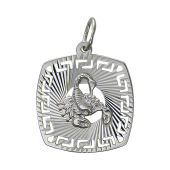 Кулон знак зодиака Скорпион в квадрате с алмазными гранями, серебро