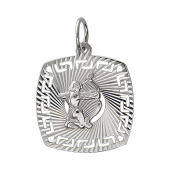 Кулон знак зодиака Стрелец в квадрате с алмазными гранями, серебро