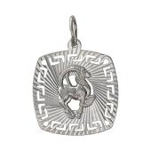 Кулон Знак Зодиака Козерог с алмазными гранями и греческим рисунком, серебро