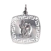 Кулон знак зодиака Водолей в квадрате с греческим рисунком и алмазными гранями, серебро