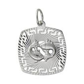 Кулон Знак Зодиака Рыбы с алмазными гранями и греческим рисунком, серебро