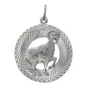 Знак Зодиака Овен в круге с алмазными гранями, серебро
