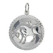 Кулон знак зодиака Телец в круге с алмазными гранями, серебро