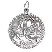 Кулон знак зодиака Рак в круге с алмазными гранями, серебро