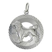 Кулон знак зодиака Лев в круге с алмазными гранями, серебро