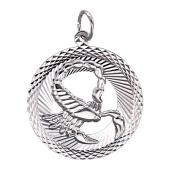 Знак Зодиака Скорпион в круге с алмазными гранями, серебро