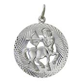 Знак Зодиака Стрелец в круге с алмазными гранями, серебро