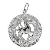 Кулон Знак Зодиака Козерог в круге с алмазными гранями, серебро