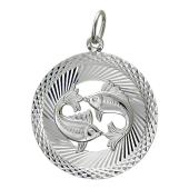 Кулон Знак Зодиака Рыбы в круге с алмазными гранями, серебро