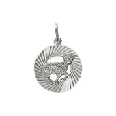 Кулон знак зодиака Овен в круге с алмазными гранями, серебро