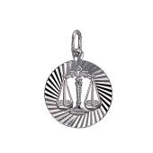 Кулон знак зодиака Весы в круге с алмазными гранями, серебро