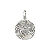 Кулон знак зодиака Стрелец в круге с алмазными гранями, серебро